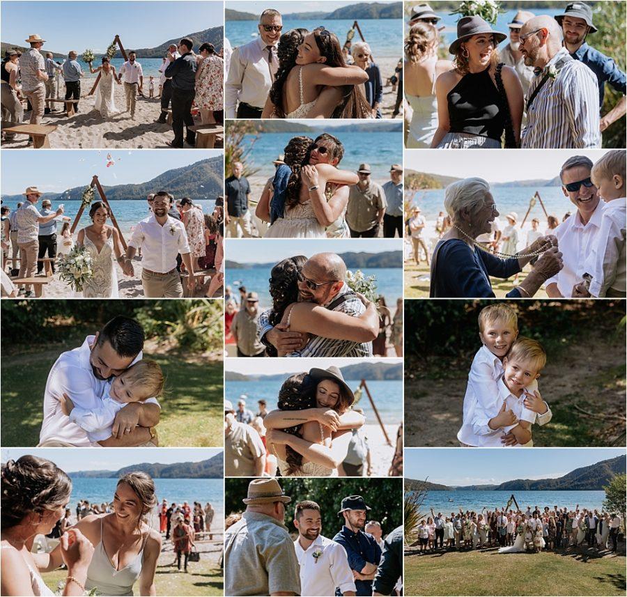 Happy wedding guests at Lake Okataina