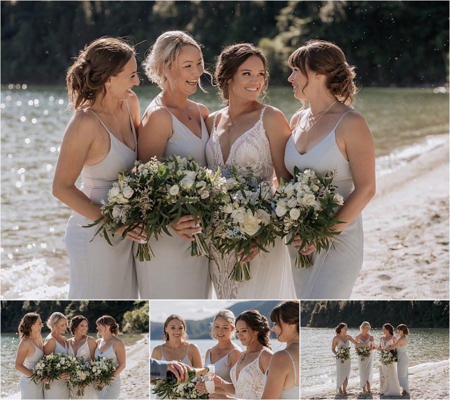 Bridesmaids photos drinking champagne