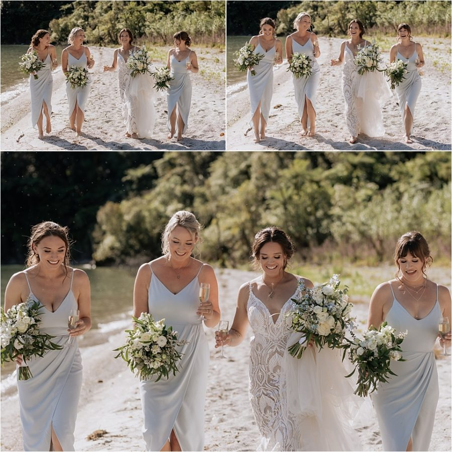 laughing fun photos of bride with bridesmaids on beach