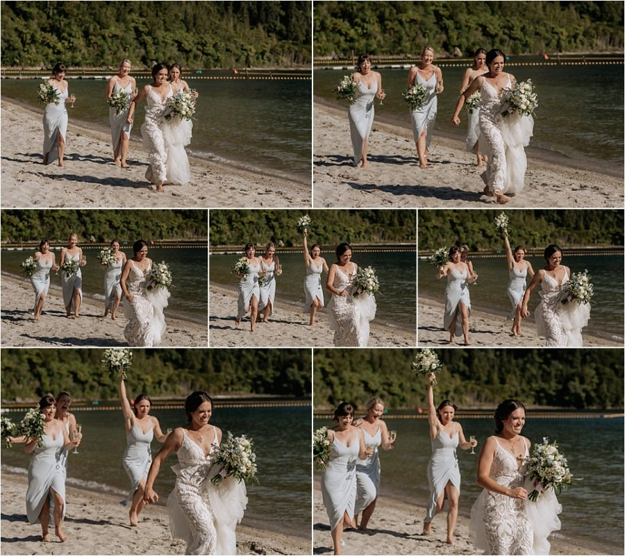 running bride racing bridesmaids for the wine