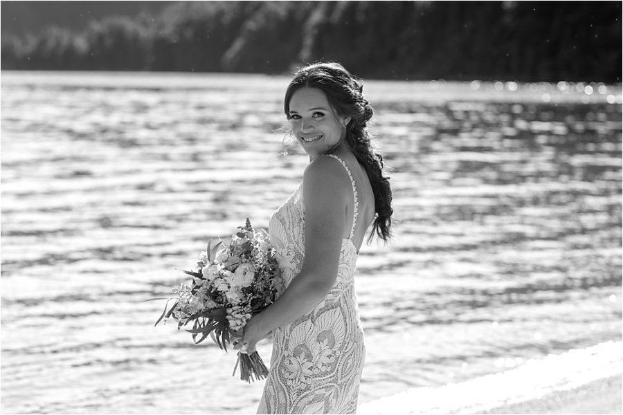 Natural wedding photos of happy bride