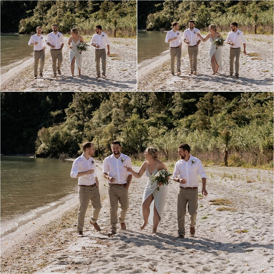 Bridal party walking with groom