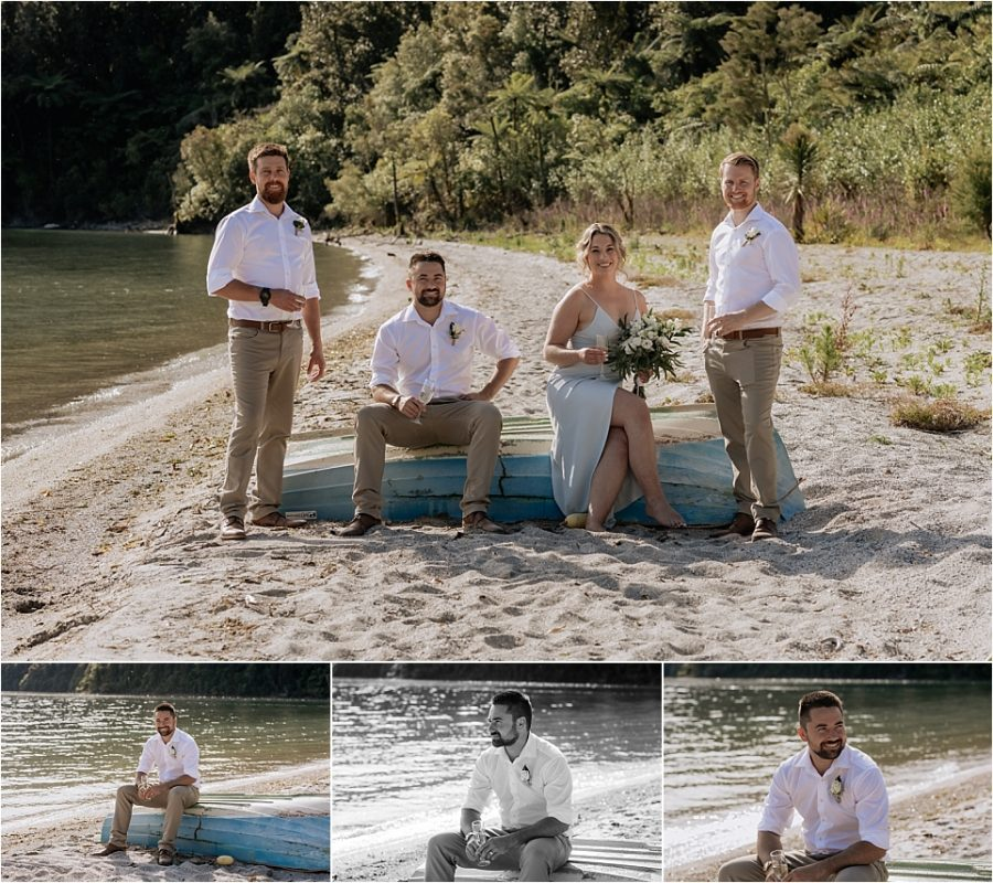 Groom with his crew sitting on boat
