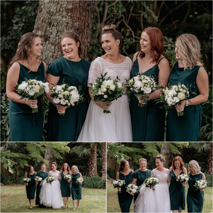 Bride walking with bridesmaids in forest green bridesmaids dresses