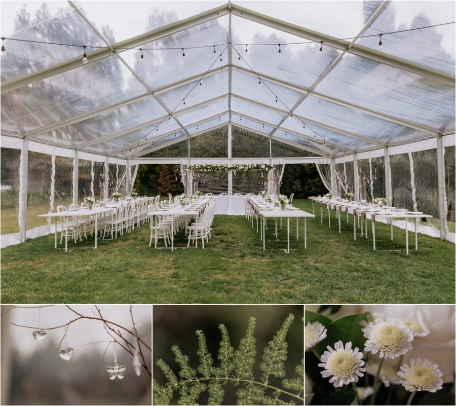 Back yard wedding marquee with table decorations