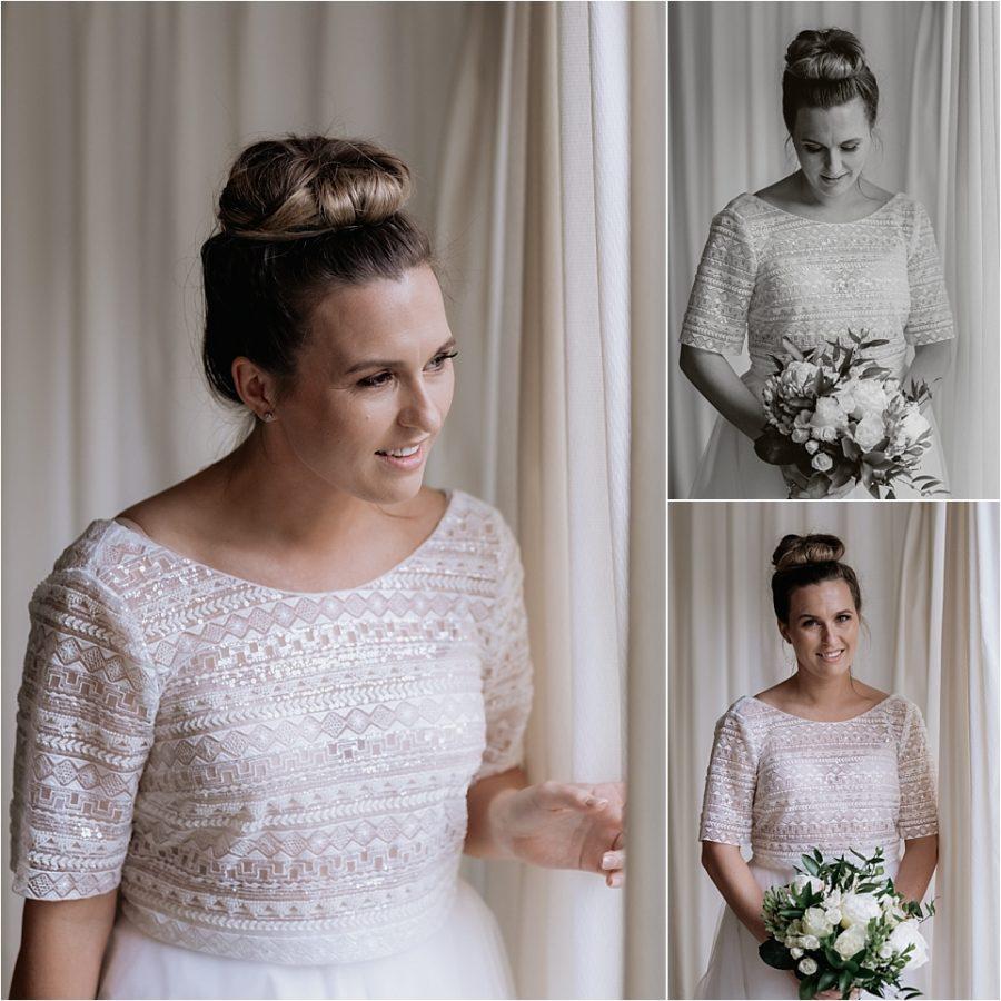 Bride portraits by window