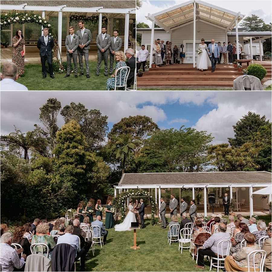 Backyard wedding ceremony in Tauranga