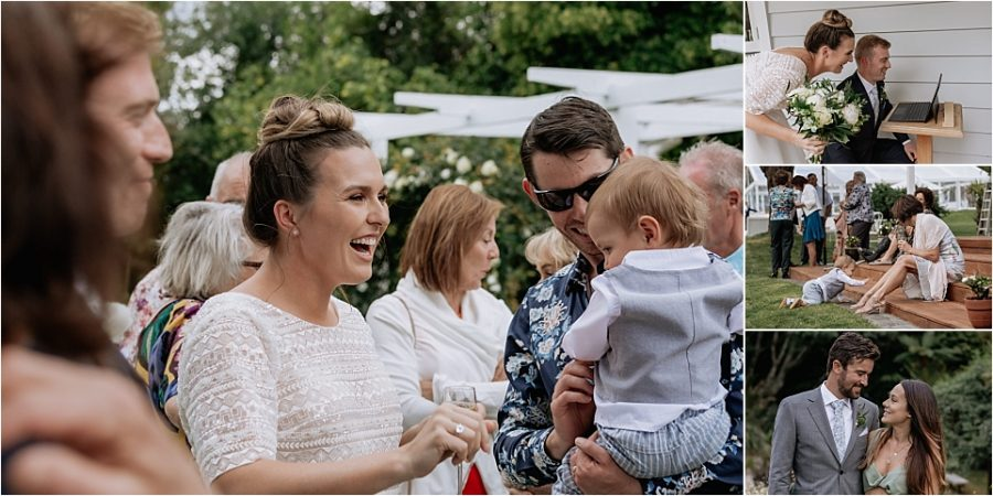 Candids and happy laughing photo of bride with baby