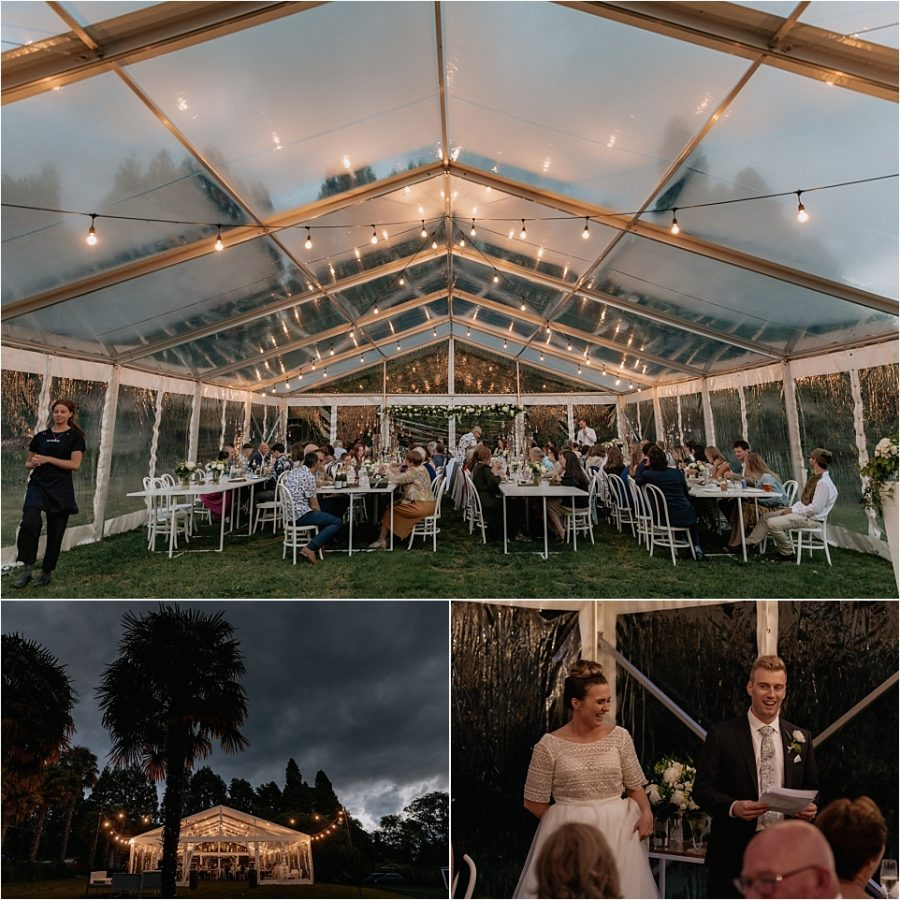 Evening wedding reception in marquee in Tauranga