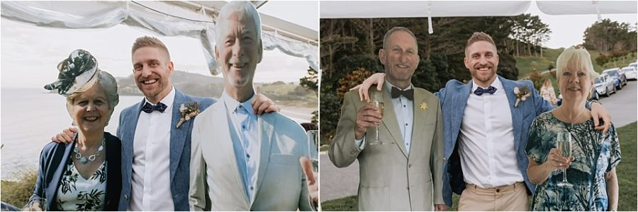 Groom with cut outs of parents