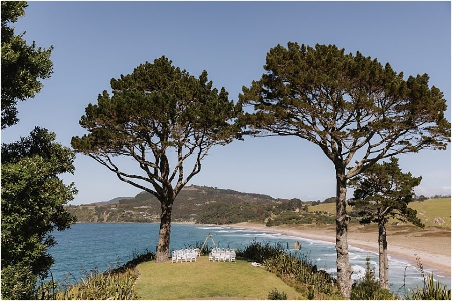 Wedding ceremony set up on cliff overlooking hot water beach Orua Beach house