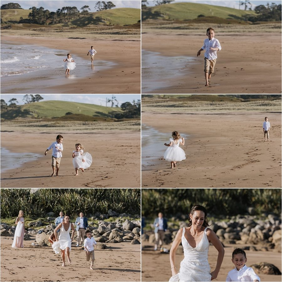 Happy family kids playing on Hot water beach during wedding photos