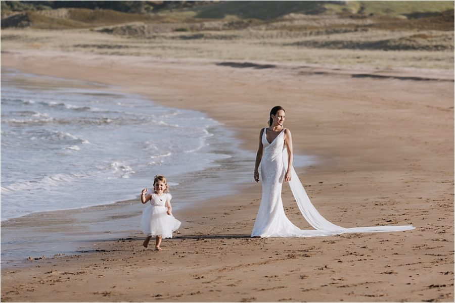 Bride and daughter during photos