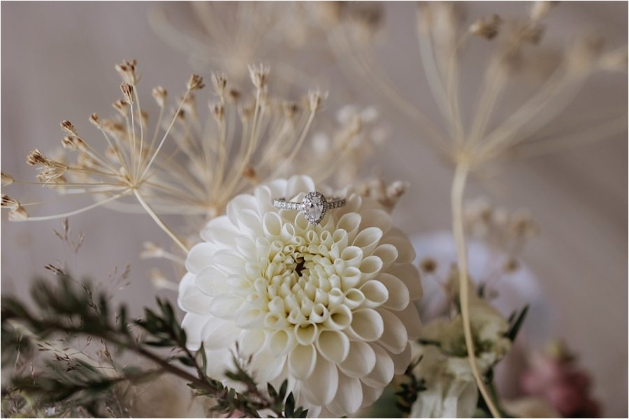 Bridal Florals with engagement ring