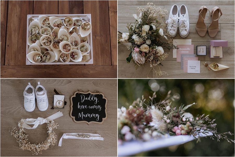 Wedding details, confetti, layflat, bouquet and lapel flowers