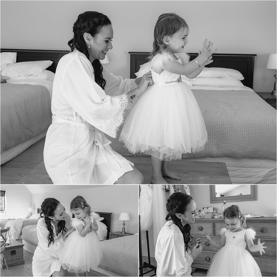 Bride and flower girl getting dressed