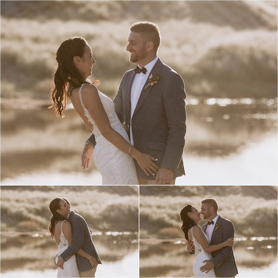 Photographer captures candid moments of bride and groom at orua beach house during golden light