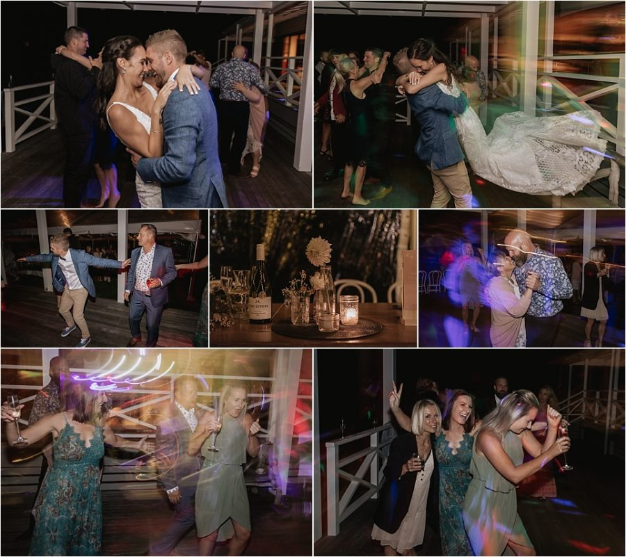 Wedding party dancing to band music