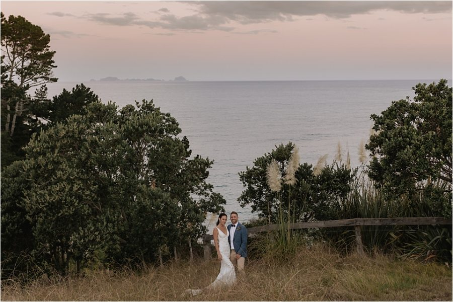 Evening image above ocean view at Hot water beach wedding