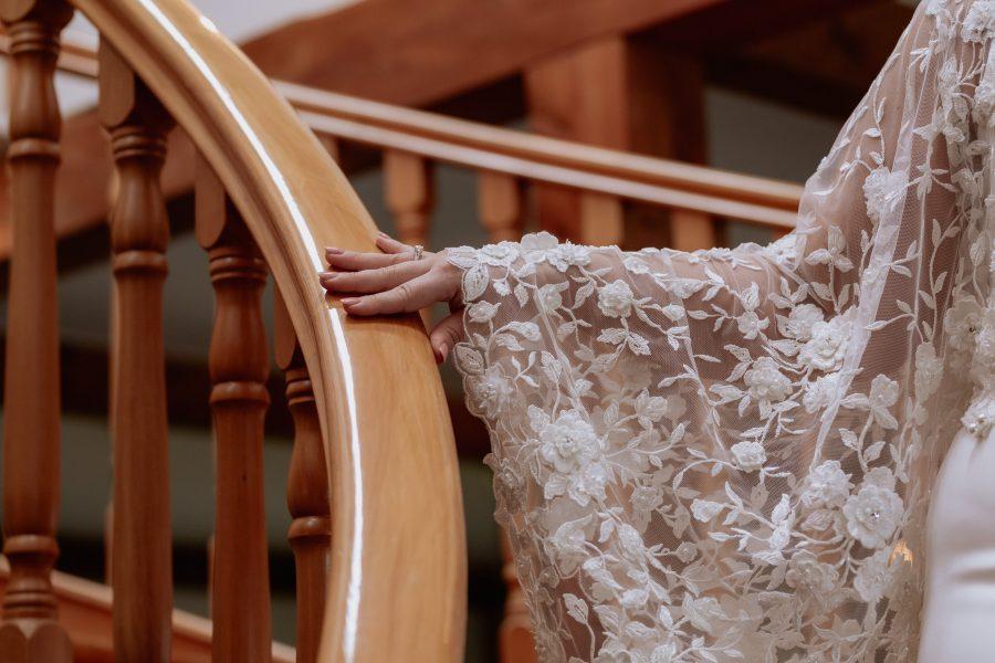 Beautiful lace detail on sleeve of wedding dress