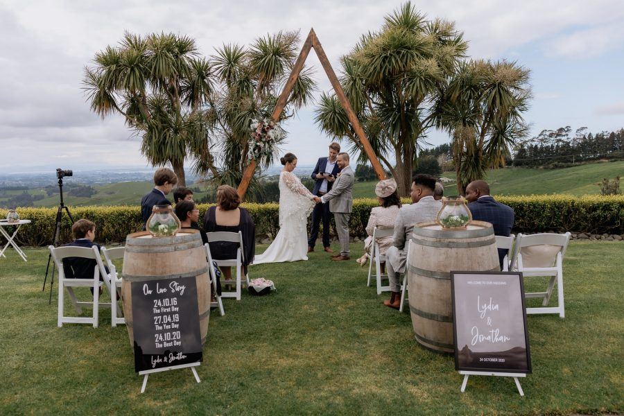 Wedding ceremony in progress in elopement style wedding