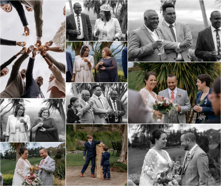 Happy guests congratulating
