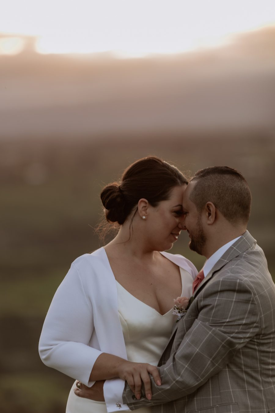 Romantic moment of bride and groom