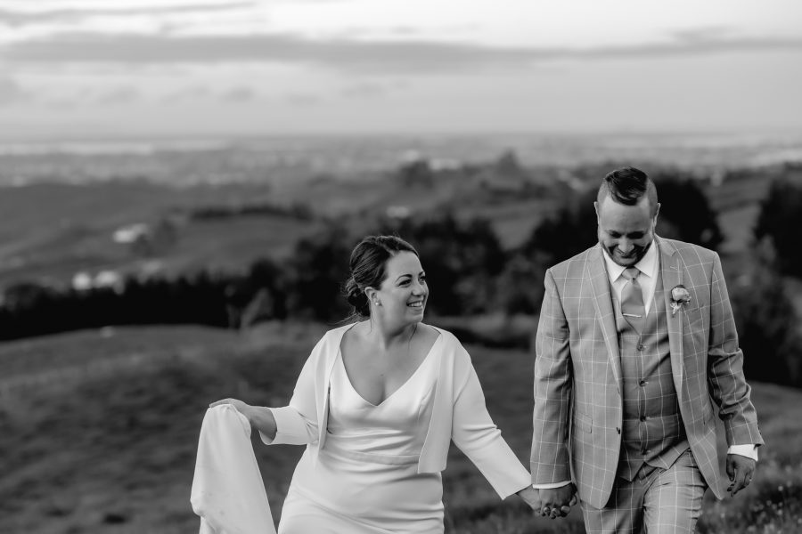 Bridal couple walking in the country views