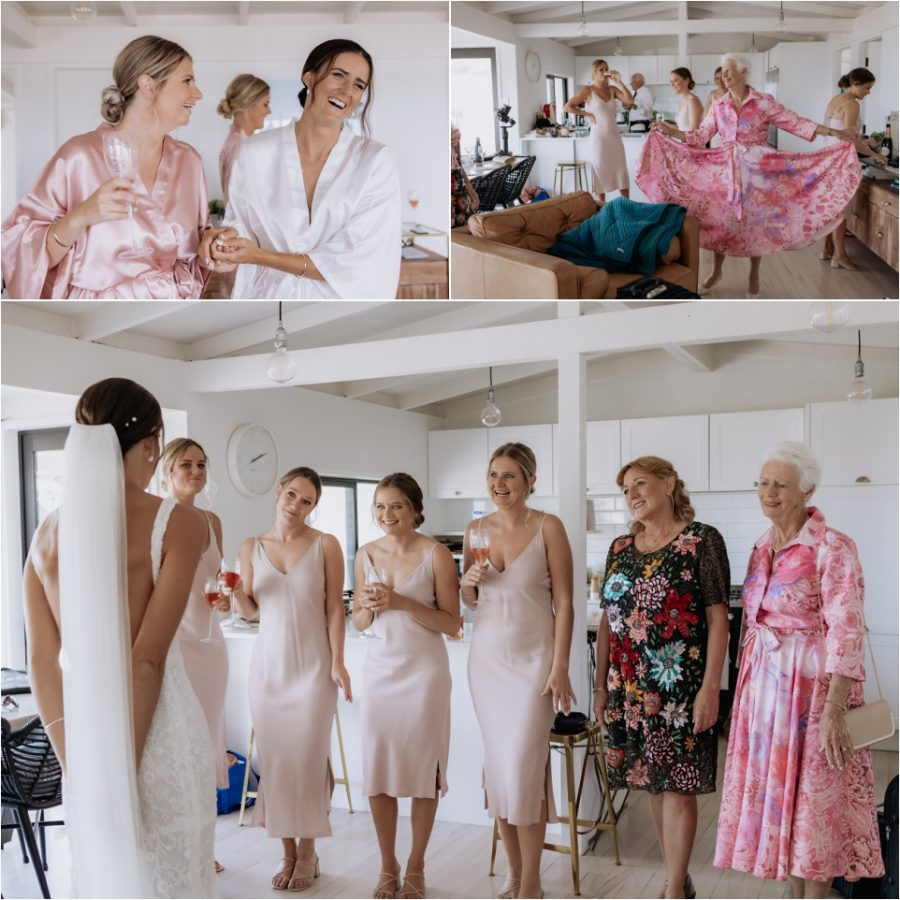 Bride with Bridesmaids and Nana and Mother dress reveal