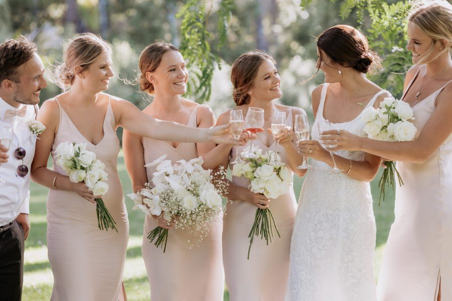 congratulations cheers with pink bridesmaids