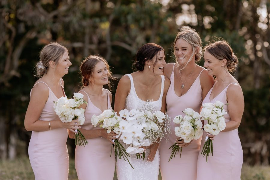 Bridal party happy photos in pink dresses