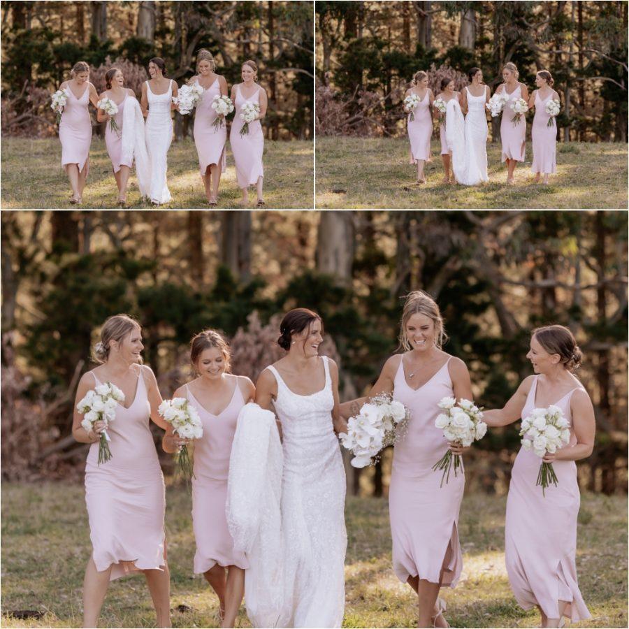 fun natural photos of pink bridal party