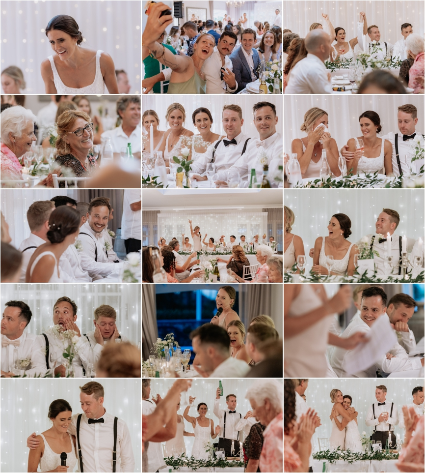 Wedding reception speeches and reactions