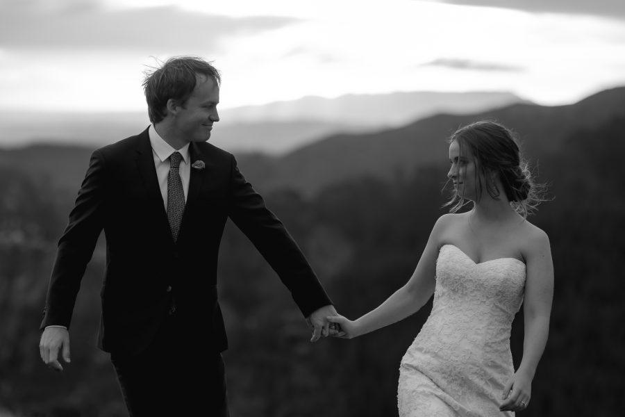 Moody wedding photos of bride and groom