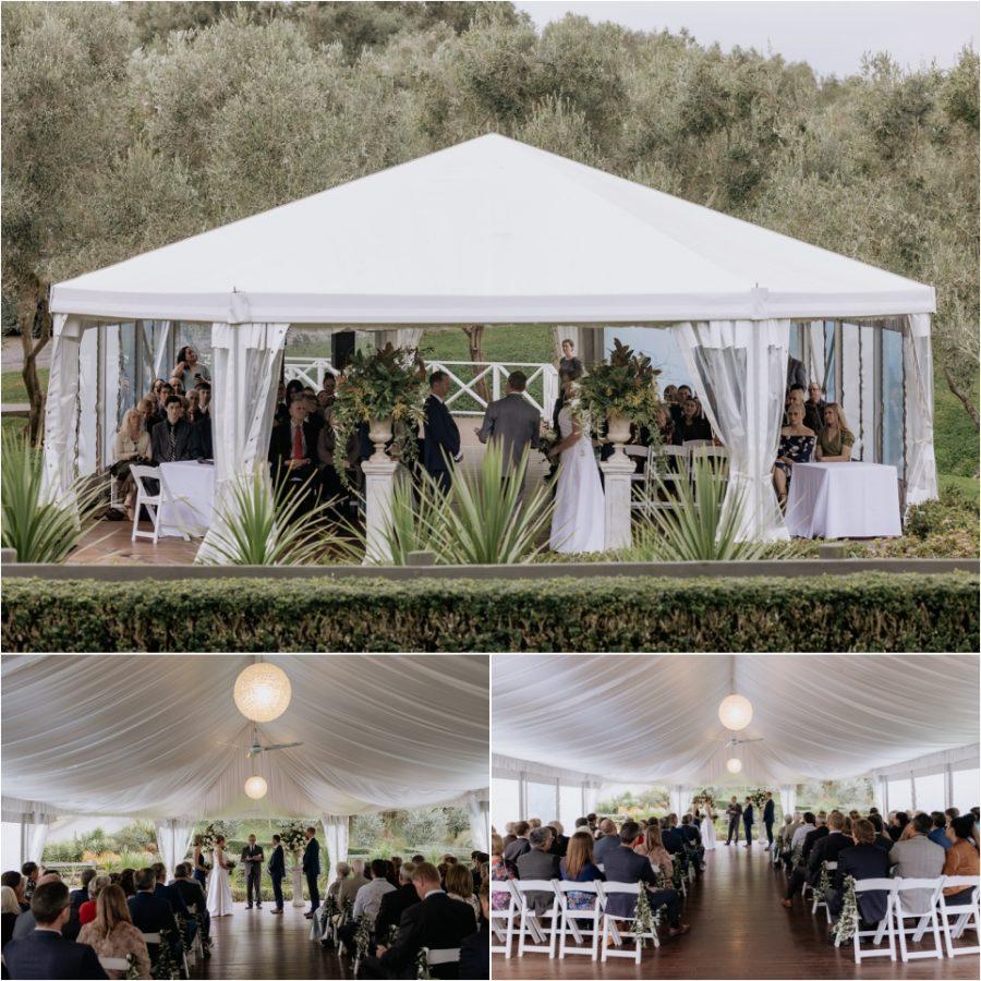 Wedding ceremony in marquee Bracu Estate Auckland