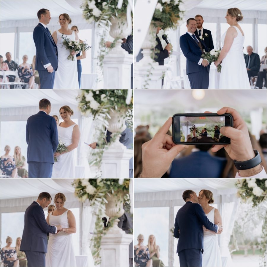 Wedding ceremony in progress with bride and groom