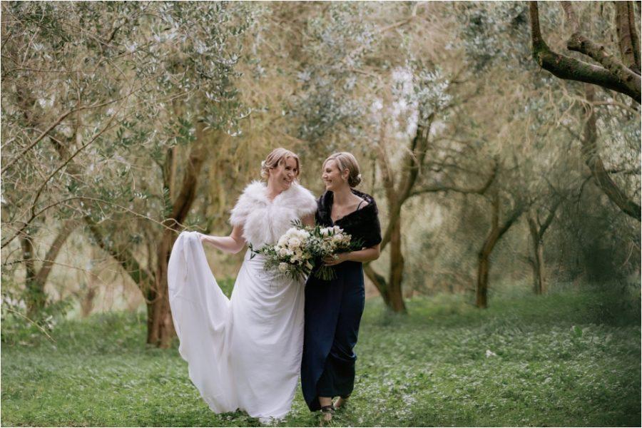 Bride and bridesmaid moments