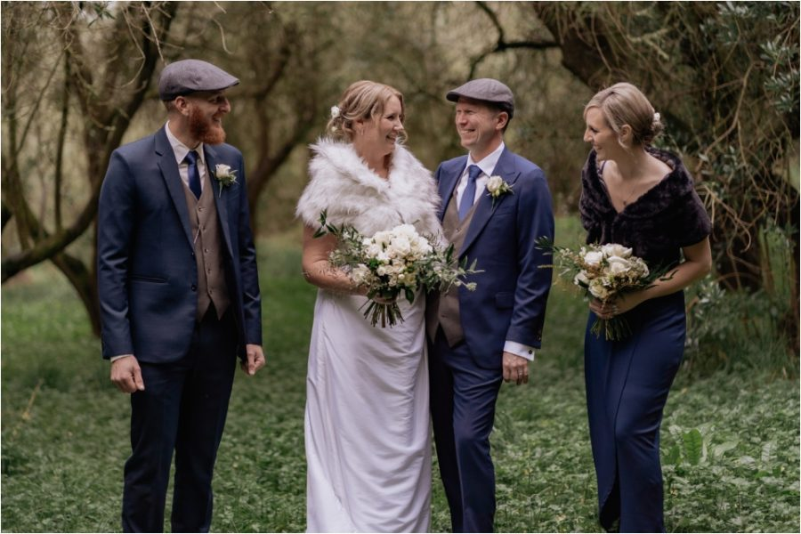 Bridal party in olive grove at Bracu