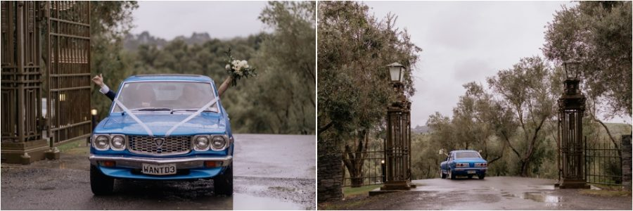 Happy bridal couple in wedding cars