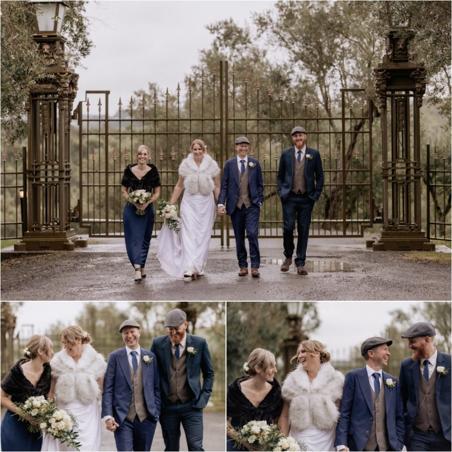 Happy wedding party photos at Bracu gates wedding photos