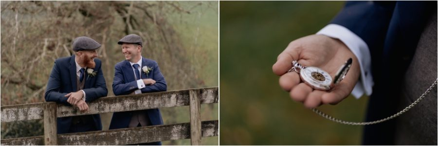 Country style Groom and groomsman with fob watch