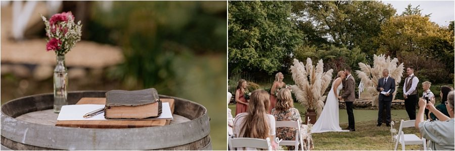 wedding ceremony with bible on wooden drum