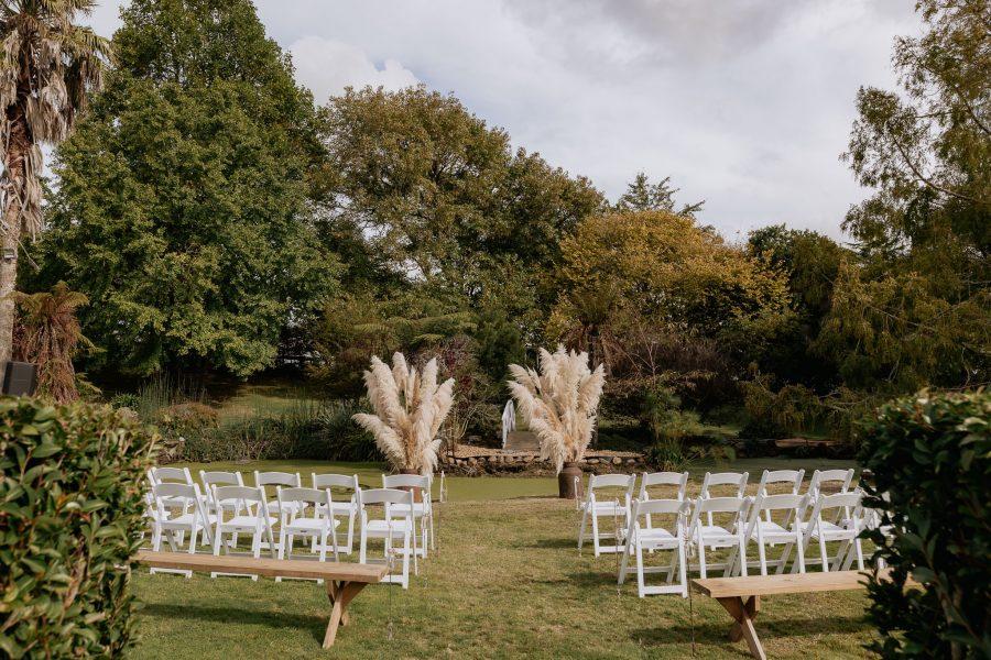 ceremony seating setup for country waikato wedding