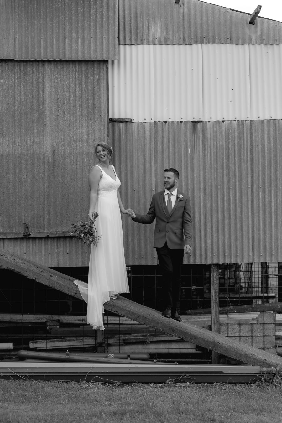 wedding photos by the farm shed