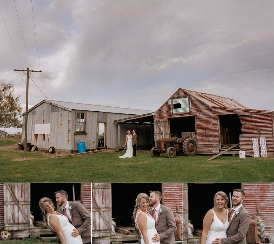 waikato wedding photos in front of sheds and couple laughing and giggling