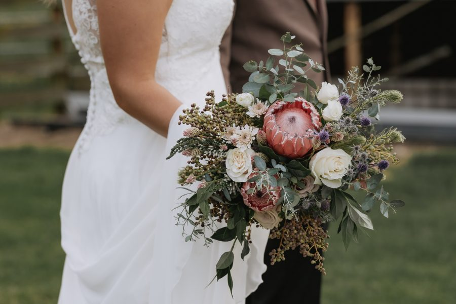 country wedding boquet with proteas