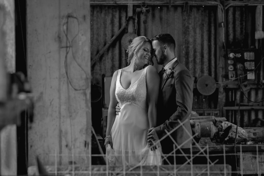 rustic wedding photography in old shed