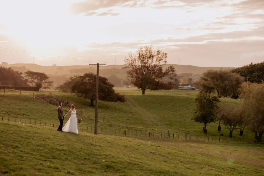 Wedding photos country scene with power pole and autumn colours
