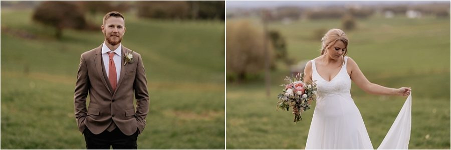 Country bride and groom new zealand farm wedding