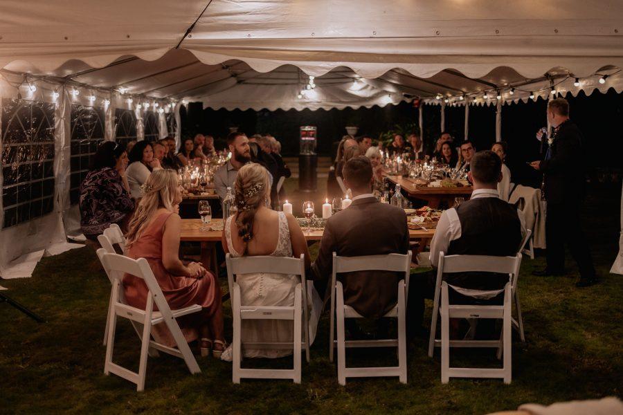 wedding reception for country wedding in marquee Waikato farm wedding